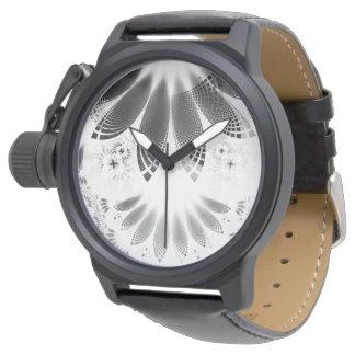 Silver Shikoba, Beautiful BnW Fractal Feathers Watch