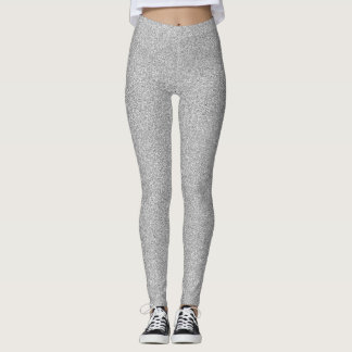 Silver Shimmer Faux Glitter Leggings