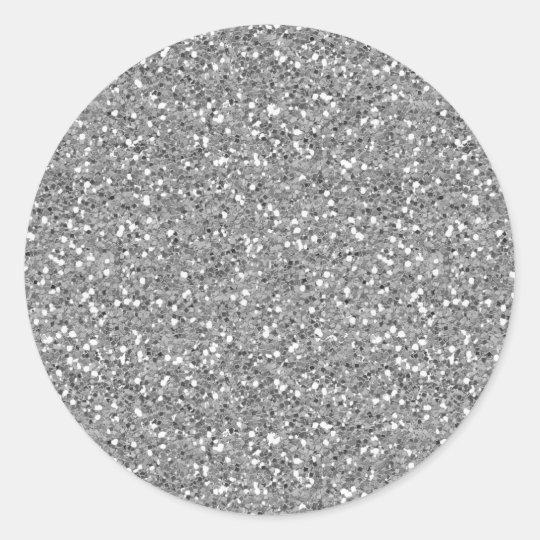 Silver Shimmer Glitter Classic Round Sticker