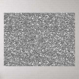 Silver Shimmer Glitter Poster