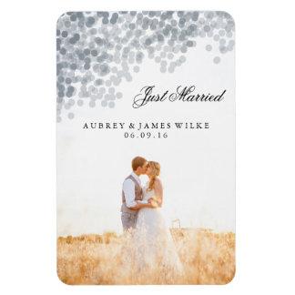 Silver Shimmer Light Shower Marriage Announcement Rectangular Photo Magnet