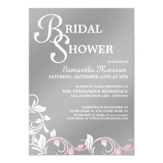 Silver Shimmer Pink Bridal Shower Invitations