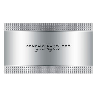 Silver Shiny Metallic Design-Stainless Steel Look Pack Of Standard Business Cards