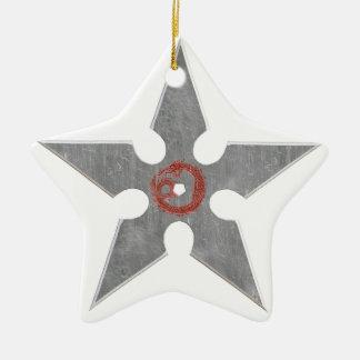 Silver Shuriken with Red Dragon Ceramic Star Ornament