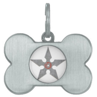 Silver Shuriken with Red Dragon Pet Name Tags