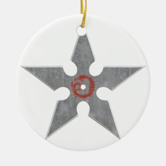 Silver Shuriken with Red Dragon Round Ceramic Ornament