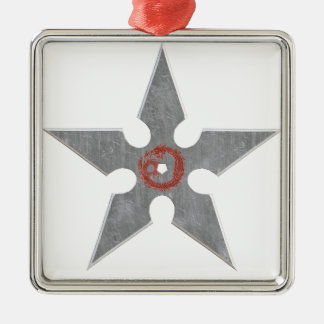 Silver Shuriken with Red Dragon Silver-Colored Square Ornament