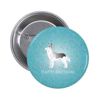 Silver Siberian Husky Dog Happy Birthday Design 2 Inch Round Button