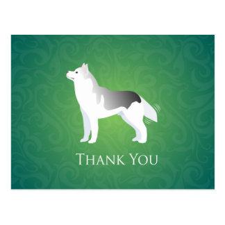 Silver Siberian Husky Dog Thank You Postcard