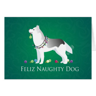 Silver Siberian Husky Feliz Naughty Dog Christmas Card