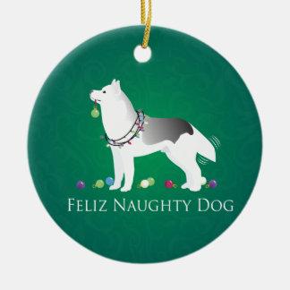 Silver Siberian Husky Feliz Naughty Dog Christmas Ceramic Ornament