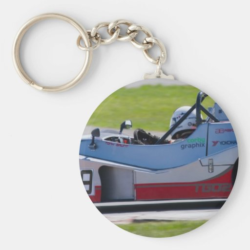 Silver single seater race car key chain