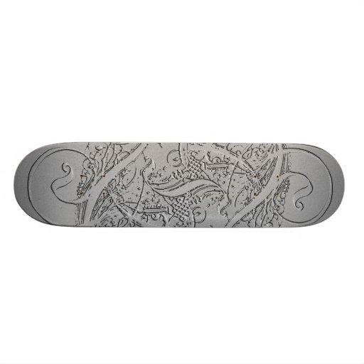 Silver skateboard