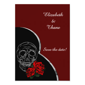 Silver Skull and Roses Modern Gothic Wedding Card