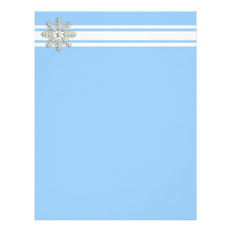 Silver Snowflake and White Lines Holiday Personalized Letterhead
