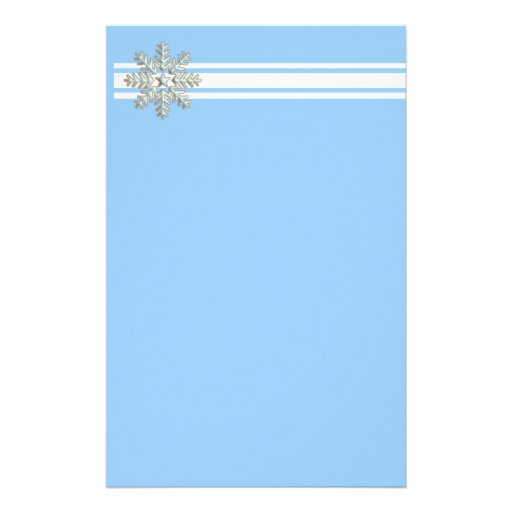 Silver Snowflake and White Lines Holiday Stationery Paper