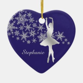 Silver Snowflake Ballerina Blue Ceramic Ornament