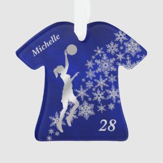 Silver Snowflake Basketball Player Ornament