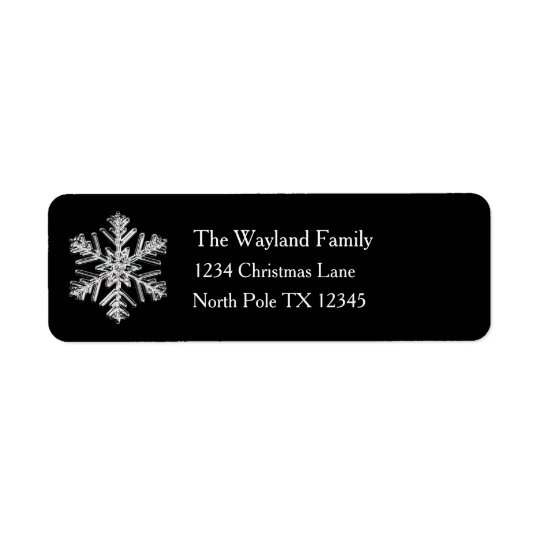 Silver Snowflake Black Holiday Address Labels