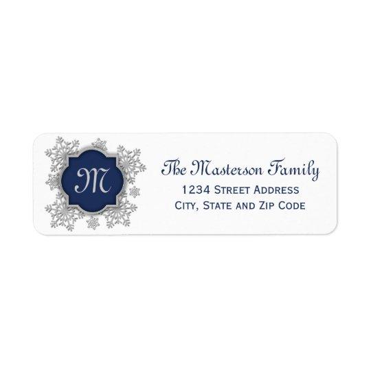 Silver Snowflake Blue Monogram Quatrefoil Return Address Label