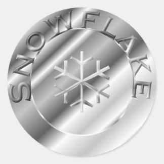 Silver Snowflake Classic Round Sticker
