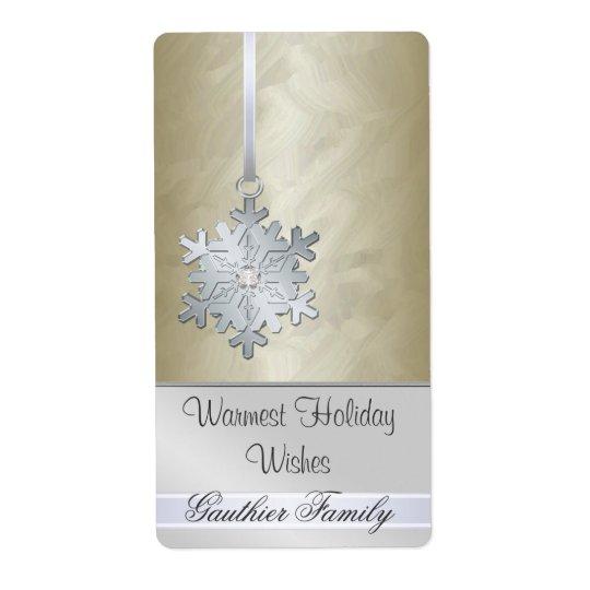 Silver Snowflake Gold Foil Diamod  Wine Label Shipping Label
