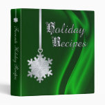 Silver Snowflake Green Silk Holiday Recipe Binder