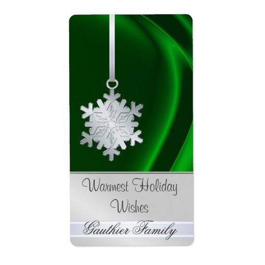 Silver Snowflake Green Silk Holiday Wine Label