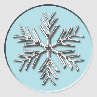 Silver Snowflake Holiday Xmas Christmas Envelope Round Sticker