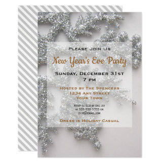 Silver Snowflake New Year's Eve Party Invitation