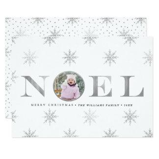 Silver Snowflake Noel Christmas Photo Cards