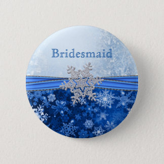 Silver snowflake on blue Bridesmaid 2 Inch Round Button