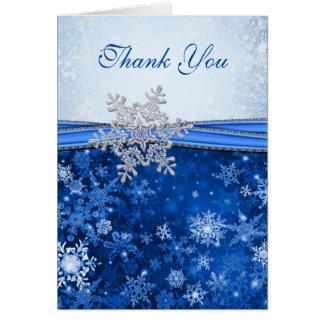 Silver snowflake on blue Wedding Thank You Card