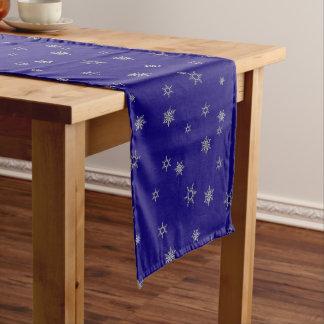 Silver Snowflake Short Table Runner