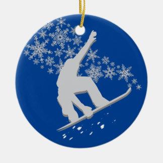 Silver Snowflake Snowboarder Personalized Ceramic Ornament