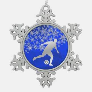 Silver Snowflake Soccer Player on Blue Snowflake Pewter Christmas Ornament