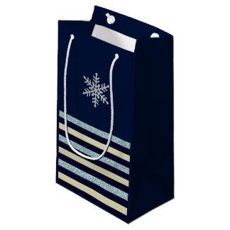 Silver Snowflake Striped Blue Winter Gift Bag
