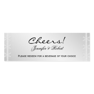 Silver Snowflake Winter Wedding Drink Tickets Mini Business Card