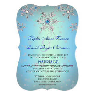 Silver Snowflakes Crystal Blue Pearl Wedding Card