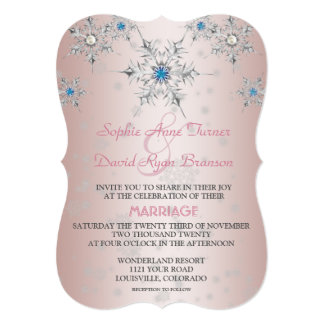 Silver Snowflakes Crystals Blue Pearl Pink Wedding Card
