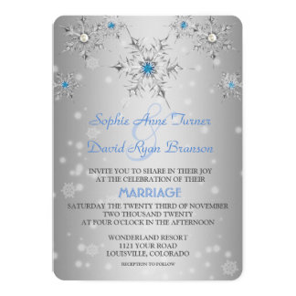 Silver Snowflakes Crystals Blue Pearls Wedding Card