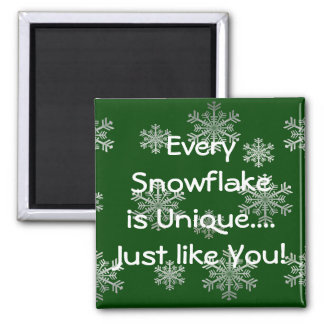 Silver Snowflakes Customizable Winter Magnet