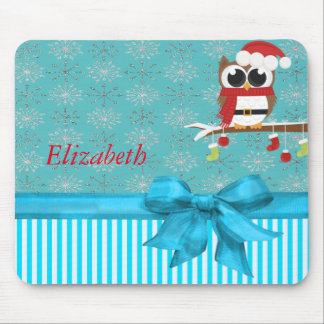 Silver Snowflakes Cute Owl-Personalized Mouse Pad