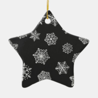 Silver snowflakes on a black background ceramic star ornament