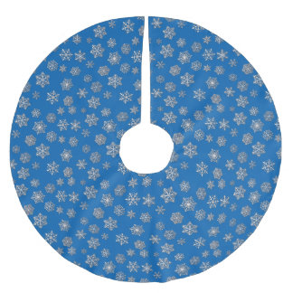 Silver snowflakes on a cobalt blue background brushed polyester tree skirt
