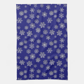 Silver snowflakes on a dark blue background hand towel