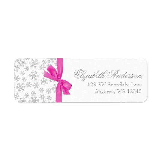 Silver Snowflakes Pink Bow Address Labels