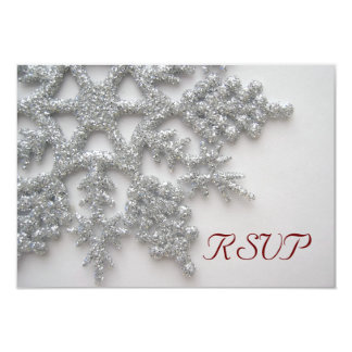 Silver Snowflakes RSVP Card Personalized Announcement