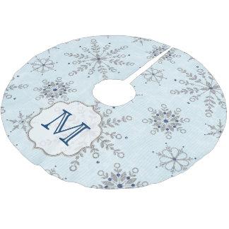 Silver Snowflakes Snow Monogram Initial Tree Skirt