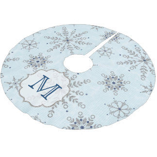 Silver Snowflakes Snow Monogram Initial Tree Skirt Brushed Polyester Tree Skirt